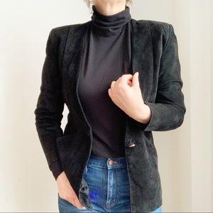 Jackets & Blazers - Black Suede Blazer Jacket With Pockets Size Small
